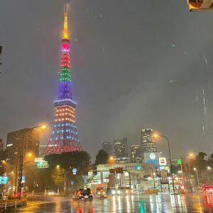 東京タワー×夜×雨